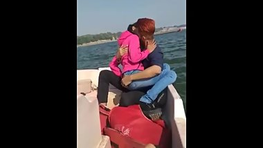 Indian Couple hot smooch on boat