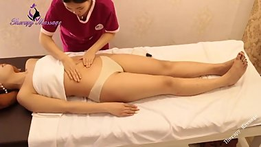 Beautiful Korean Girl Burning Belly Fat by Abdominal Massage