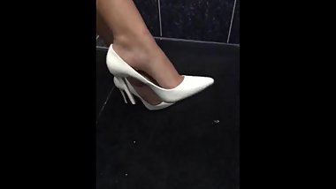 Sexy Indian feet in white heels shoe play and dangle- part-2