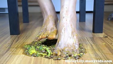 HornyLily crushing Indian food with her feet