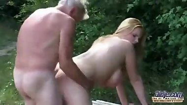 Teen Tiana fucked by old man in public