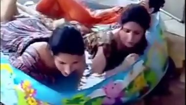 Indian Lesbian girls playing in waterpark